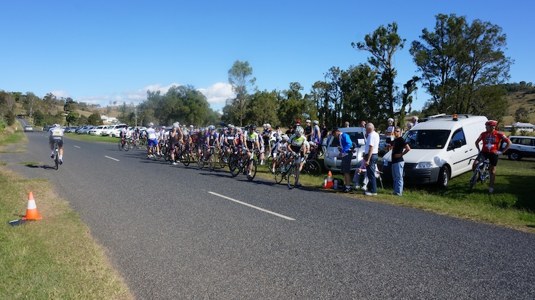 Riders line up for the start