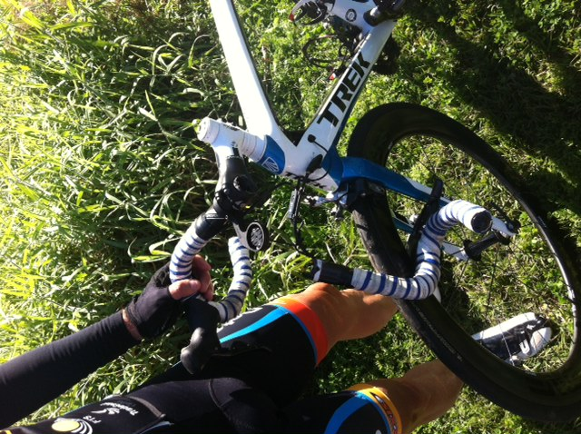 The cause of the B grade crash in the sprint - snapped bars!